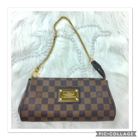063cbdd9d063 Louis Vuitton Handbags - Louis Vuitton Damier Eva Clutch w  Chain   Strap